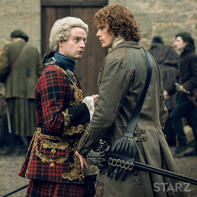 "Bonnie Prince Charlie and Jamie Fraser in ""Prestonpans"" Outlander season 2 episode 10 (2016)"